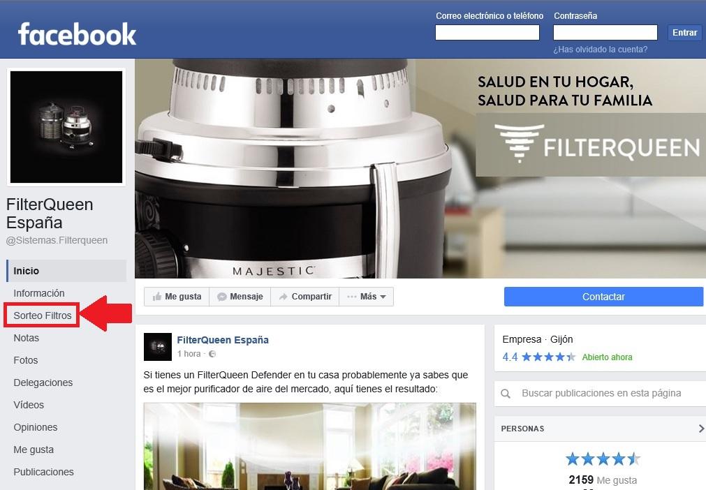 Sorteo de Filtros en Facebook